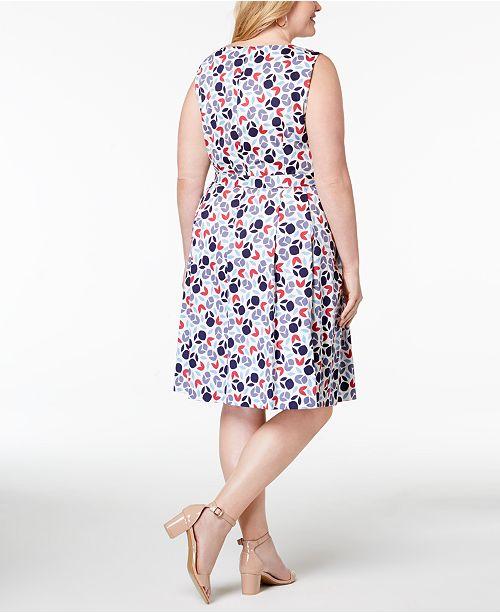 Anne Fit White Plus Klein Flare Eton Size Dress Printed Combo amp; Blue 7F7wrngAqH