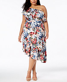 NY Collection Plus Size Ruffed One-Shoulder Dress
