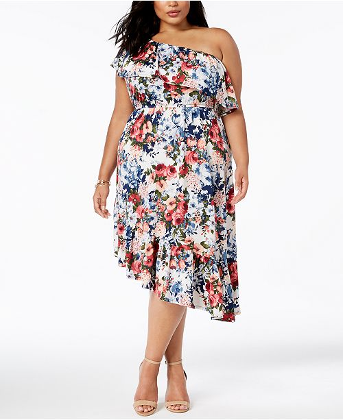 Ny Collection Plus Size Ruffed One Shoulder Dress Dresses Plus