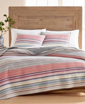 Rustic Yarn-Dyed Stripe 100% Cotton Twin Quilt, Created for Macy's