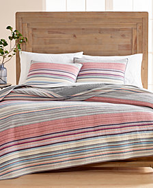 Martha Stewart Collection Rustic Yarn-Dyed Stripe 100% Cotton Full/Queen Quilt, Created for Macy's