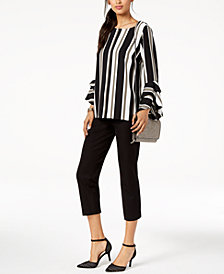 Alfani Ruffled-Sleeve Top & Cropped Pants, Created for Macy's
