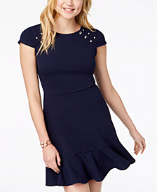 City Studios Juniors' Embellished A-Line Dress