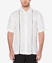 81a7671b152 Cubavera Men s Linen Cotton Insert Panel Short-Sleeve Shirt