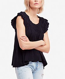 Free People Cotton Ruffled T-Shirt