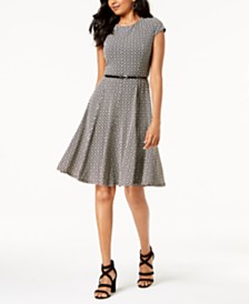 3eac9d0dff1 Jessica Howard Belted Printed Fit & Flare Dress
