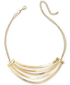 "I.N.C. Gold-Tone Multi-Bar Statement Necklace, 17"" + 3"" extender, Created for Macy's"