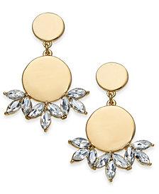 I.N.C. Gold-Tone Disc & Crystal Drop Earrings, Created for Macy's