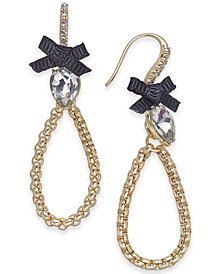 I.N.C. Gold-Tone Crystal & Bow Open Drop Earrings, Created for Macy's