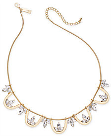 "I.N.C. Gold-Tone Crystal Collar Necklace, 18"" + 3"" extender, Created for Macy's"
