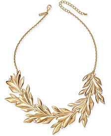 "I.N.C. Gold-Tone Imitation Pearl Leaf Statement Necklace, 19"" + 3"" extender, Created for Macy's"