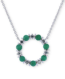 "Emerald (2 ct. t.w.) & White Sapphire (3/4 ct. t.w.) 16"" Pendant Necklace in Sterling Silver"