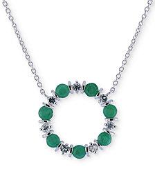 "Emerald (2 ct. t.w.) & White Sapphire (3/4 ct. t.w.) 16"" Pendant Necklace in Sterling Silver"