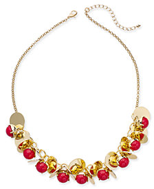 "I.N.C. Gold-Tone Disc & Stone Bauble Necklace, 21"" + 3"" extender, Created for Macy's"