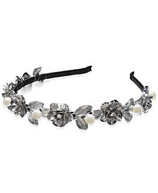 I.N.C. Silver-Tone Imitation Pearl Leaf Head Band, Created for Macy's