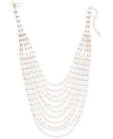 "Thalia Sodi Gold-Tone Beaded Multi-Chain Statement Necklace, 17"" + 3"" extender, Created for Macy's"