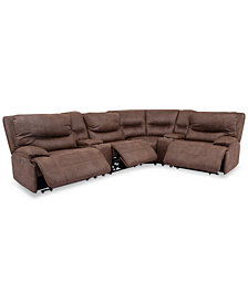 Felyx 6-Pc. Fabric Sectional Sectional Sofa With 3 Power Recliners, Power Headrests, 2 Consoles And USB Power Outlet