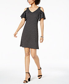MSK Petite Polka-Dot Cold-Shoulder Dress