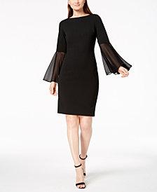 Calvin Klein Chiffon Bell-Sleeve Sheath Dress
