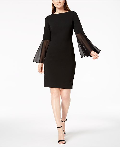 d836eaffd9e8d Calvin Klein Chiffon Bell-Sleeve Sheath Dress   Reviews - Dresses ...