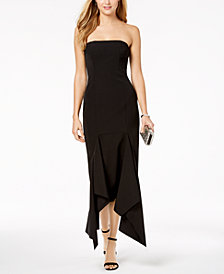 Vince Camuto Strapless Asymmetrical Midi Dress
