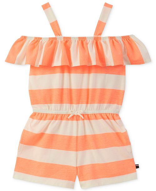 d9f979d78 Tommy Hilfiger Big Girls Striped Ruffle-Trim Romper - Dresses - Kids ...