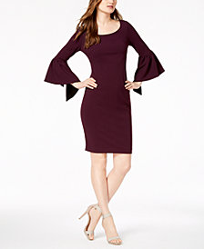 Calvin Klein Split Bell-Sleeve Sheath Dress
