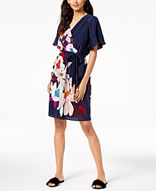Trina Turk Printed Braid-Belt Surplice Dress