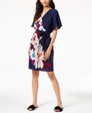 Trina Turk Printed Braid-Belt Surplice Dress 6549219