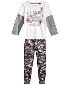Epic Threads Little Boys Graphic-Print T-Shirt & Camo-Print Moto Jogger Pants Separates, Created for Macy's