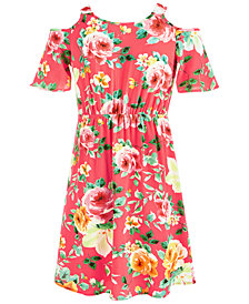 Monteau Big Girls Tropical-Print Faux-Wrap Dress