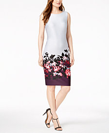 Calvin Klein Border-Print Scuba Sheath Dress
