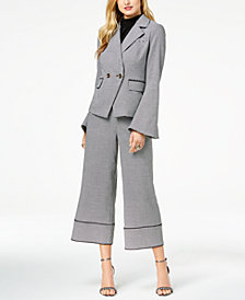 Zoe by Rachel Zoe Houndstooth Blazer, Ruffled Top, Culotte Pants & Ella Two-Piece Dress Sandals, Created For Macy's