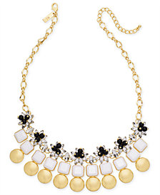 "I.N.C. Gold-Tone Multi-Stone & Circle Statement Necklace, 18"" + 3"" extender, Created for Macy's"