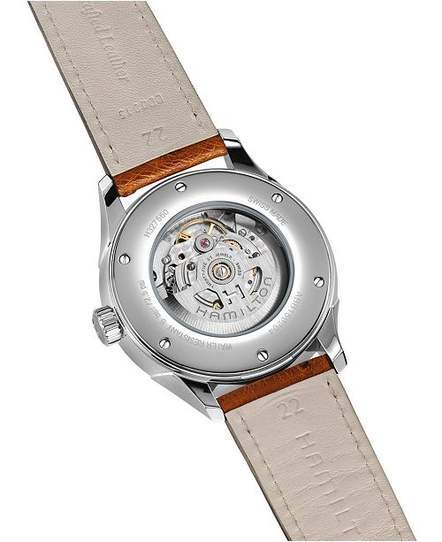 4b85e791a3e ... Hamilton Men s Swiss Automatic Jazzmaster Viewmatic Light Brown Ostrich Leather  Strap Watch 44mm H32755851 ...
