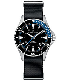 Hamilton Men's Swiss Automatic Khaki Navy Scuba Black Nato Strap Watch 40mm
