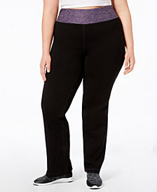 Ideology Plus Size Rapidry Open-Leg Yoga Pants, Created for Macy's