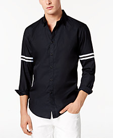 I.N.C. Men's Striped-Sleeve Button Down Shirt, Created for Macy's
