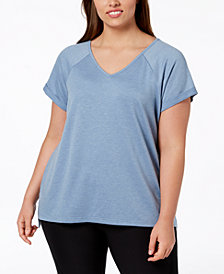 Ideology Plus Size V-Back T-Shirt, Created for Macy's