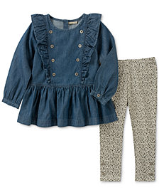 Calvin Klein Little Girls 2-Pc. Denim Tunic & Printed Leggings Set