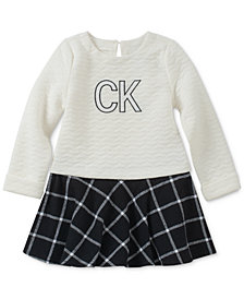 Calvin Klein Little Girls Quilted Plaid Flannel Dress