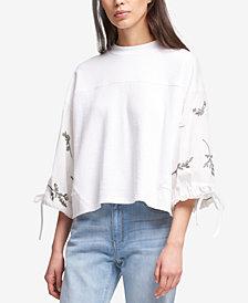 DKNY Printed Tie-Sleeve Sweatshirt, Created for Macy's