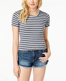 American Rag Juniors' Printed Crochet-Back Top, Created for Macy's