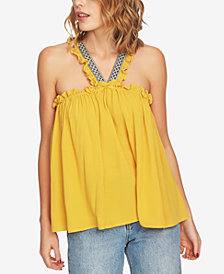 1.STATE Embroidered V-Neck Top