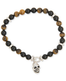 R.T. James Men's Tiger's Eye (8mm) and Black Stone Skull Bracelet in Silver-Plate