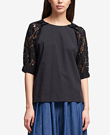 DKNY Lace-Sleeve Tie-Back Top, Created for Macy's