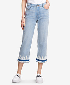 DKNY Tie Dye-Hem Cropped Jeans, Created for Macy's