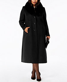 Forecaster Plus Size Fur-Collar Maxi Coat
