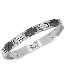Men's Black Diamond Cross Link Bracelet (2 ct. t.w.) in Stainless Steel