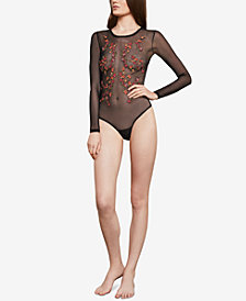 BCBGMAXAZRIA Sheer Floral-Embroidered Bodysuit